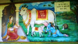 Rishikesh, Swarg Ashram. Immagine su una parete del Gita Bhaneashraman Ashram.