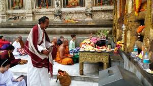 Bodhgaya, 26 febbraio 2016. Pellegrini in preghiera al Mahabodhi Temple.