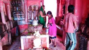 Madhia Pradesh, Chitrakoot, 12 febbraio 2016. Decorazioni al Sankar Temple.