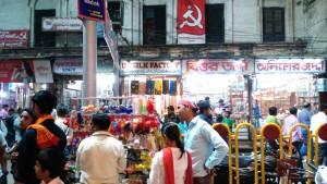 Varanasi, 19 febbraio 2016. Simbolio politico sulla Main Road.