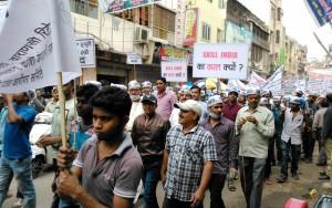 Varanasi, Godonia, 14 marzo 2016. Manifestazione di lavoratori.