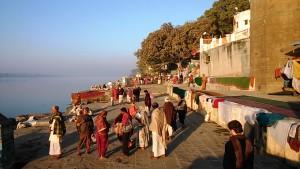 Maheswar, 23 dicembre 2016. Lungo i ghat del Narmada.