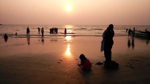 Gokarna, 16 gennaio 2017. Tramonto sulla Gokarna beach.