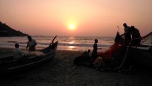 Gokarna, 5 febbraio 2017. Pescatori al tramonto.