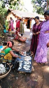 Gokarna, dintorni, 18 gennaio 2017. Pescivendole della Ganga Valli.