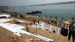 Varanasi, 12 marzo 2017. Lavandai e bucati sulla riva del Gange.