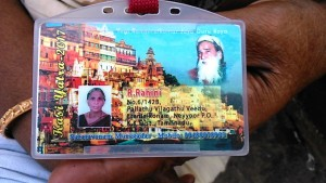 Varanasi, 20 marzo 2017. Il cartellino di riconoscimento.