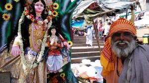 Varanasi, 26 febbraio 2017. Sadhu in posa accanto alla statua in terracotta della dea Kalinda, al Dasaswamedh Ghat.