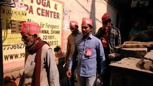 Varanasi, zona di Chowk, 19 febbraio 2017. Parte di una manifestazione pre elettorale.
