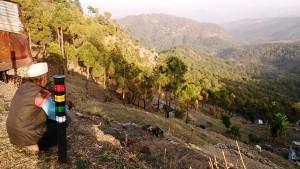 Kasar Devi, 9 aprile 2017. Panorama con sullo sfondo i covoni appoggiati agli alberi.