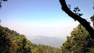 Le cime dell'Himalaya viste dal Punto Zero della Foresta di Binsar. 17 aprile 2017.