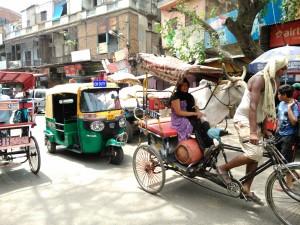 New Delhi. Paharganj, 29 aprile 2017. La zona del mercato.
